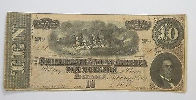 US Confederate Currency Dated February 17th,1864 $10 VERY FINE T-68