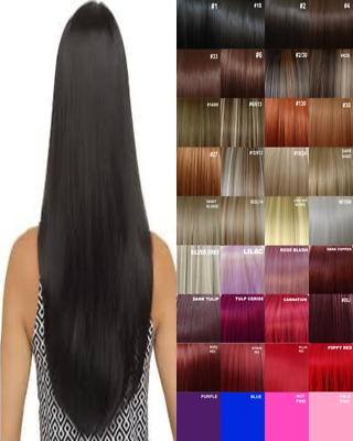 Clip in Hair Extensions Human Feel Black Copper Honey Blonde Red Highlight plum