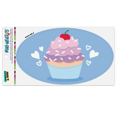 Cute Cupcake Vanilla Cherry with Sprinkles Car Euro Oval Magnet