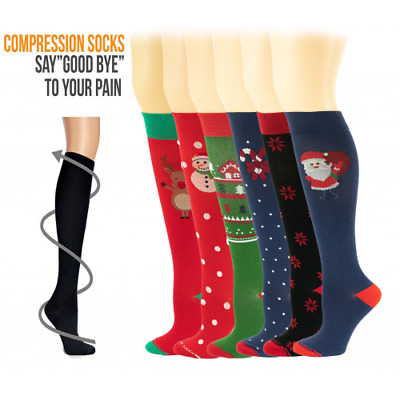 6 Pairs X-mas Travel Support Leg Relief Compression Knee High Socks  8-15mmhg