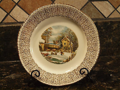 """Homer Laughlin -Currier & Ives-The Farmers Home-Winter 6 1/4"""" Plate"""
