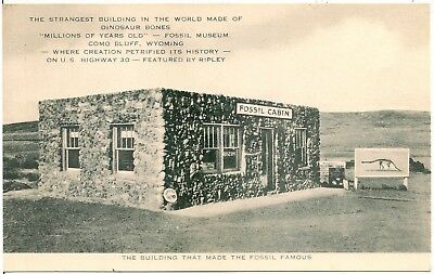 Building Made of Dinosaur Bones on Lincoln Highway in Como Bluff WY Postcard
