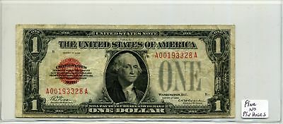 United States Note $1 One Dollar 1928 Red Seal in Fine Condition SN A00193328A