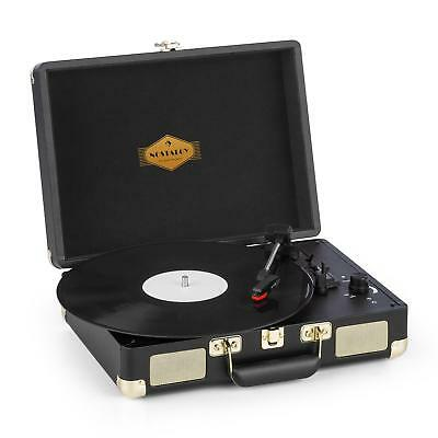 Kofferplattenspieler Retro Vinyl Stereolautsprecher Turntable USB-Ausgang black