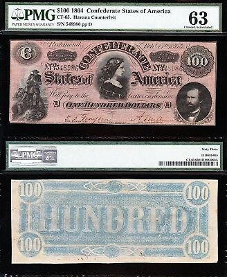 Nice CHOICE UNC 1864 CT-65 $100 Havana Counterfeit CSA Confederate Note! PMG 63!