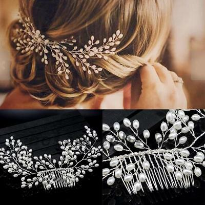 Bridal Wedding Hair Comb Crystal Diamante Pearl Hair Comb Clip Tiara Headband