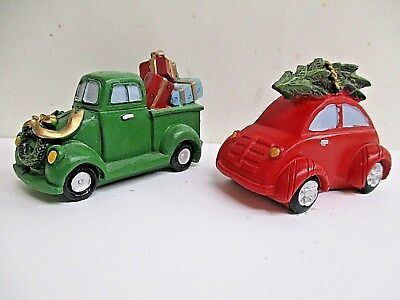 CHRISTMAS VILLAGE ACCESSORIES Lot of 2 Old Fashioned Car & Truck