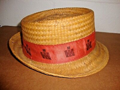 Vintage International Harvester IH Tractors Woven Straw Fedora Hat Size Large