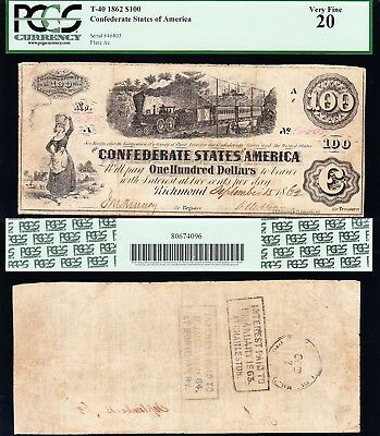 """NICE VF """"TRAIN NOTE"""" 1862 T-40 $100 CSA Confederate Note! PCGS 20! FREE SHIP!"""