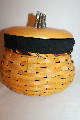 2007 Longaberger  Small Gourd  Basket, Lid, Protector, Fabric