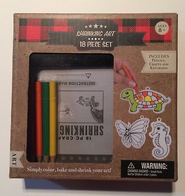 SHRINKING ART 18 PIECE SET  INCLUDES Pencils, Crafts and Keychains NEW IN BOX