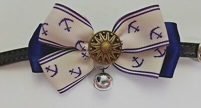 Dog Cat Pet Collar 12 And 1/2 In Long Small Nautical Bow With Button And Bell