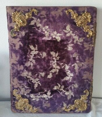 Antique VICTORIAN PURPLE VELVET & GOLD Photo Album Cabinet Photos ORNATE Vtg Big