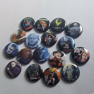 80s HORROR PINBACK BUTTON LOT of 22 - punk pin badge - friday 13th nightmare ash