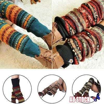 Women Boho Winter Warm Leg Warmers Cable Knit Knitted Crochet High Long Sock New