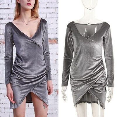 Fashion Womens V-Neck Long Sleeve Bodycon Backless Dress Sexy Irregular Office