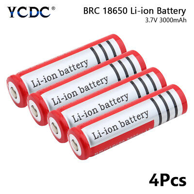 Rechargeable BRC 18650 Li-ion Battery 3.7V 3000mAh For Flashlight Headlamp x4 5