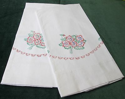 Antique Pillow Case Pair Faux Embroidery Florals Never Used