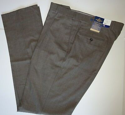 NWT $150 HART SCHAFFNER MARX BROWN DRESS PANTS PLEATED MENS SIZE 32R 33R CHICAGO
