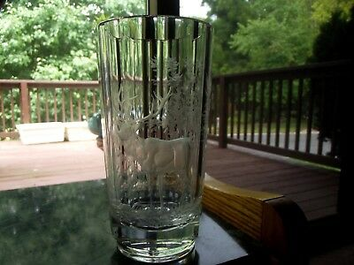 RARE VASE cut etch Stag Deer forest Glass Crystal Czech MOSER Bohemian antique