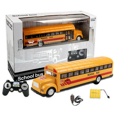 2.4G RC School Bus Car with LED Light Openable Door Charging Electric Model Toys
