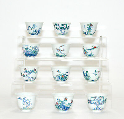 Fine Complete Collection Set of 12 Chinese Doucai Floral Porcelain Wine Cup