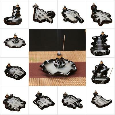Ceramic Mountain Waterfall Smoke Backflow Incense Burner Cones Holder + 10 Cones
