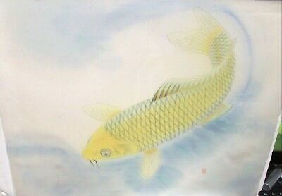 Japanese Yellow Koi Fish Original Watercolor On Silk Painting Signed