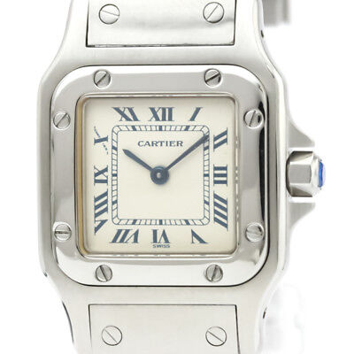 07ed1e0d100a Polished CARTIER Santos Galbee Stainless Steel Quartz Ladies Watch BF312366