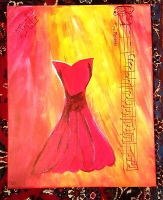 "Amazing 16x20"" Hand Painted Artwork Red Dress Music Canvas Painting Signed"