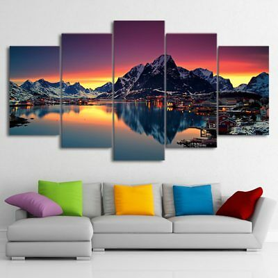 Canvas Pictures Wall Art Frame Home Decor 5pcs Aurora The Country Of The Island