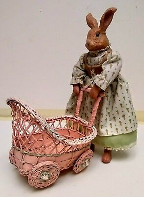 Vintage Rabbit Doll Pushing Wicker Baby Carriage 1940s - 1950s
