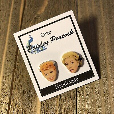 I Love Lucy and Ethel Earrings Color TV Show Retro