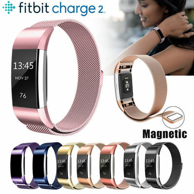 Magnet Milanese Watch Band Stainless Steel Strap Replacement For Fitbit Charge 2