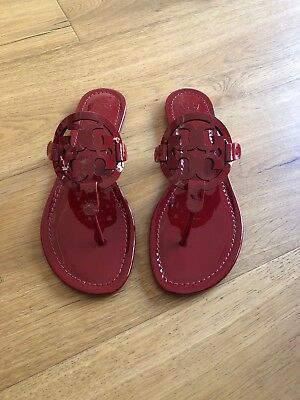 050b58e7b725 NWB TORY BURCH Miller Sandals Size 8.5 Dark Redstone Patent Leather ...