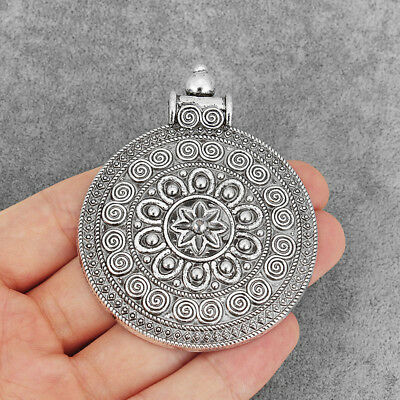 2Pcs Large Antique Silver Boho Style Round Spiral Charm Jewelry Necklace Pendant