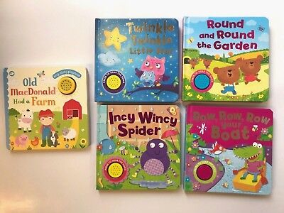 Set Of 5 Sound Books MacDonald Twinkle Round Incy Wincy Row Boat Ages 0 Months+