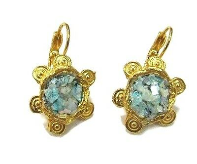 Roman Glass Earring Ancient Fragments 200 BC Bluish Gold Plated HolyLand  ISRA