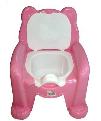Pink Easy Clean Kids Toddler Potty Training Chair Seat Removable Potty Lid