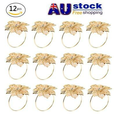 AU 12pcs Gold Flowers Napkin Ring Holder Dinner Party Wedding Table Decoration