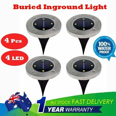 4X Solar Powered Buried Inground Recessed 4Led Light Garden Outdoor Camping Path
