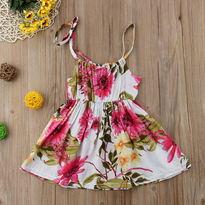 Toddler Kids Baby Girl Sleeveless Flower Princess Party Dress Sundress Clothes