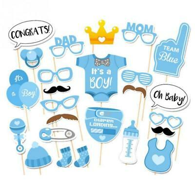 25pcs Baby Shower Photo Booth Props Boy Mister New Born Party Game Decoration
