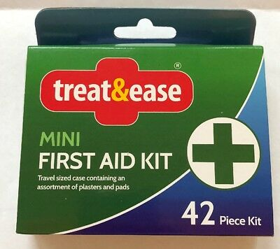 first aid travel kit 42pc mini compact case home office work car sport travel pk