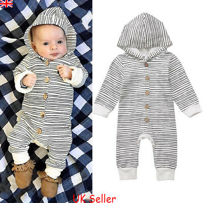 UK Newborn Baby Boy Girl Stripe Hooded Romper Bodysuit Jumpsuit Clothes Outfits