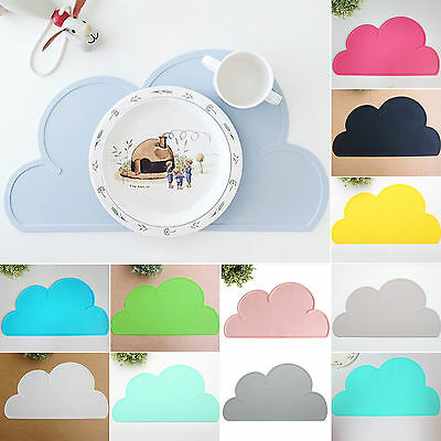 Baby Kid Silicone Cloud Shaped Kitchen Placemat Dining Plate Bowl Table Mat