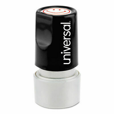 Universal Round Message Stamp, SMILEY FACE, Pre-Inked/Re-Inkable, Red