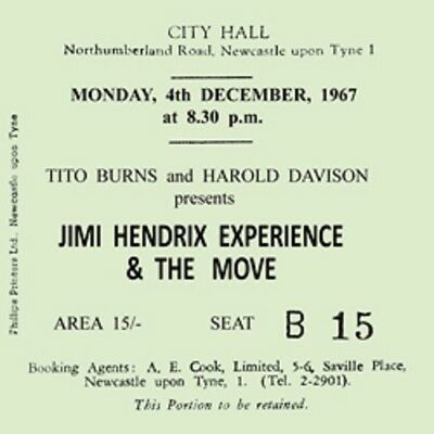 Jimi Hendrix Experience and the Move Concert Coasters Ticket December 1967