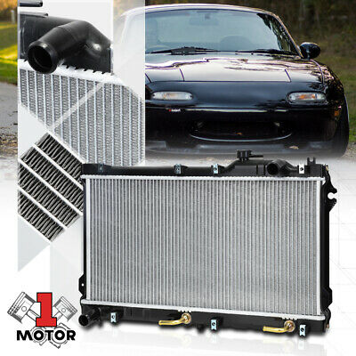 "2-ROW ALUMINUM RADIATOR+2X 12/""FAN BLACK FOR 04-08 MAZDA RX-8//RX8 SE3P 13B-MSP"