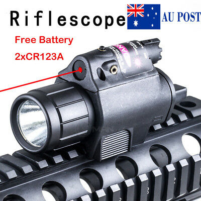 Tactical Red Scope Sight CREE LED Flashlight Combo 20mm Rail Mount W/Battery